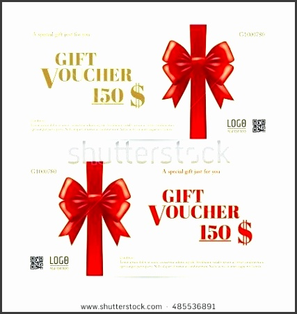 present voucher template elegant t card or t voucher template with shiny red bows and ribbons present voucher template