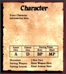 Card Making Tools HeroQuest Character Template