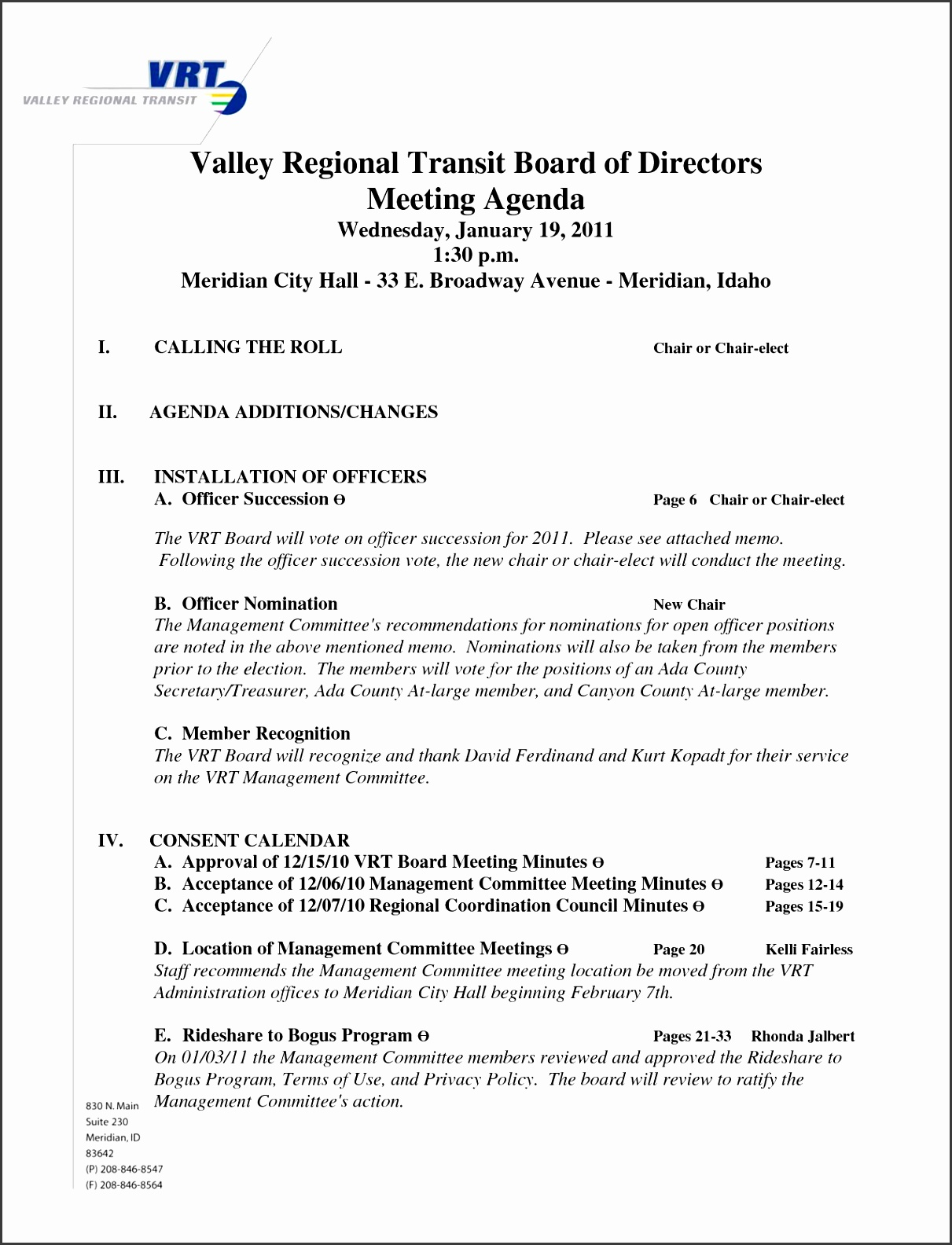 directors meeting agenda template