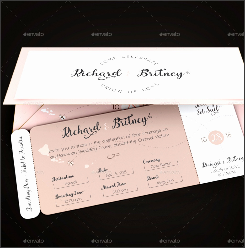 Preview Image Set Pink Wedding Boarding Pass InvitationTemplate Image Preview 5