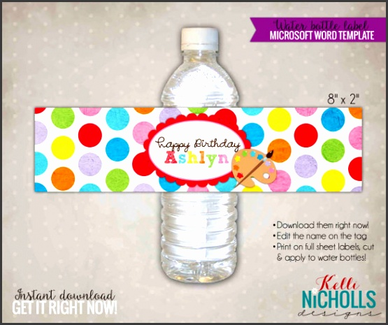 Children Art Water Bottle Label Template