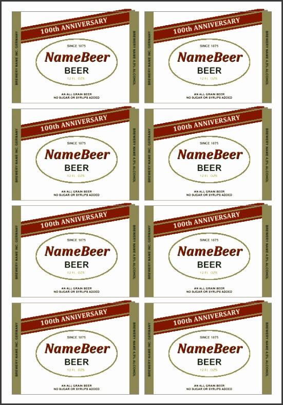 Custom beer label template