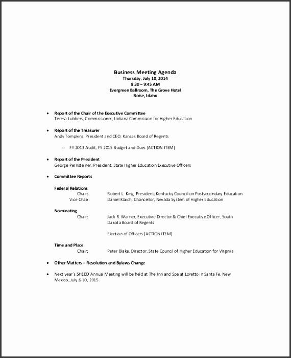 Business Sales Meeting Agenda Sample Template