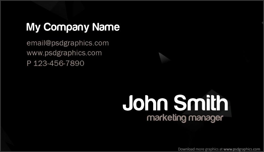Stylish dark business card template – back