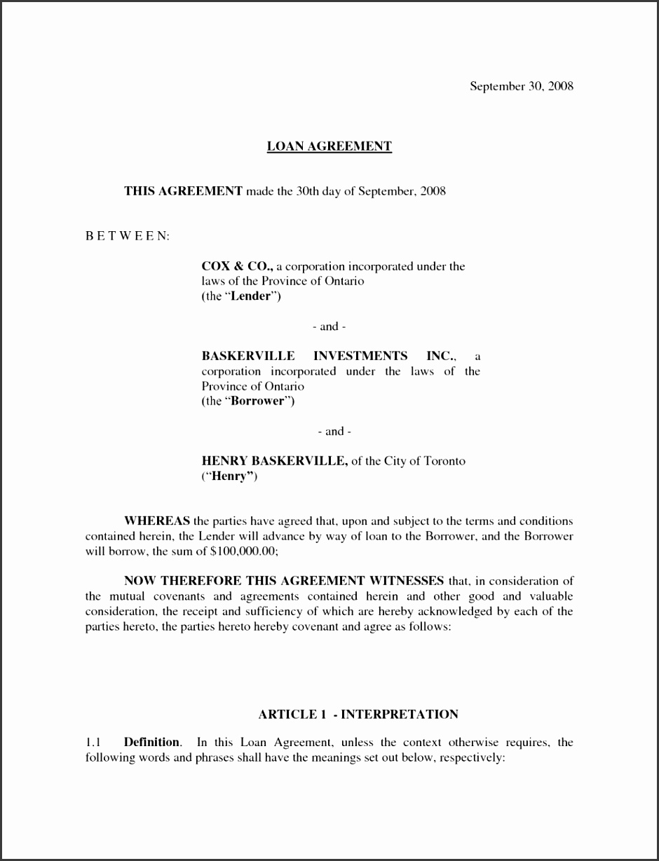 Business Agreement Contract Sample Form Loan Partnership Contracts Template With And