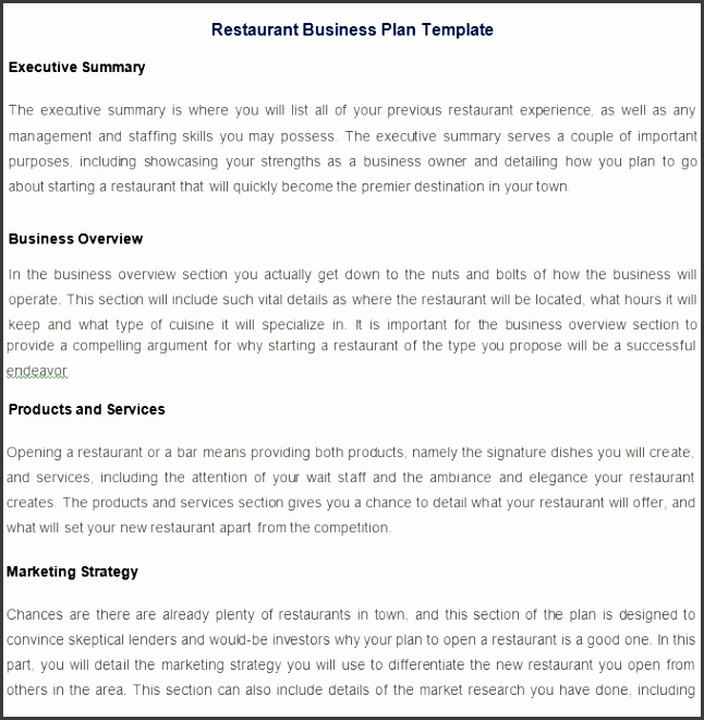 Restaurant Business Plan Template Free Pdf Word Documents pertaining to Restaurant Business Plan Template