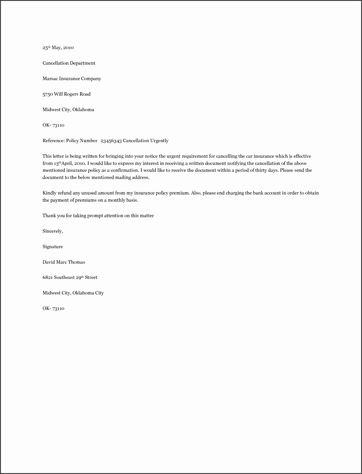 Home Insurance Cancellation Letter
