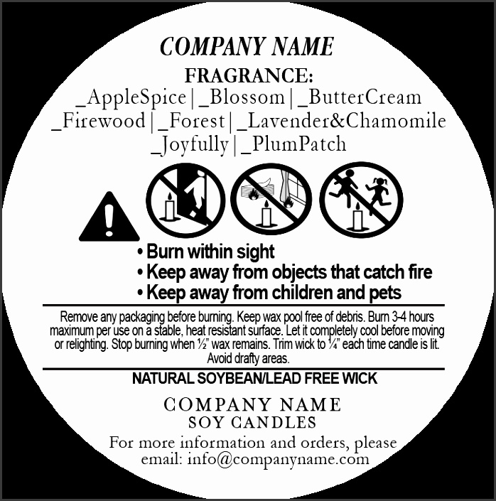 Candle Warning Labels
