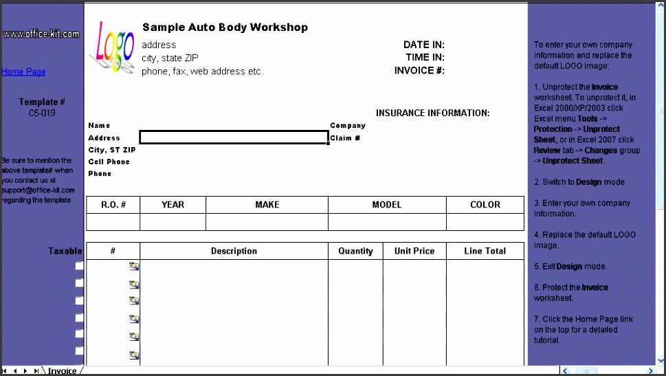 Auto Repair Invoice Template Invoice Form