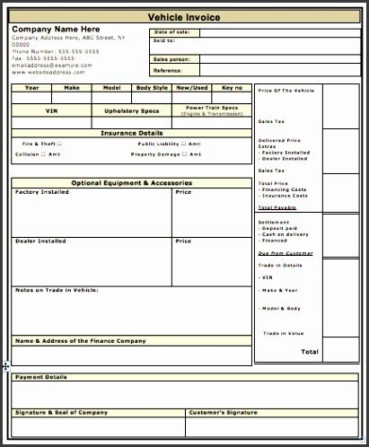 Vehicle Sales Invoice Template