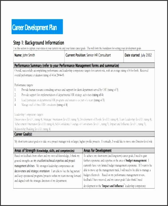 sample career development plan