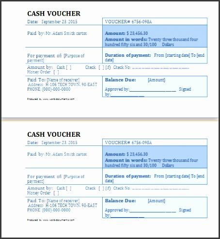cash voucher template