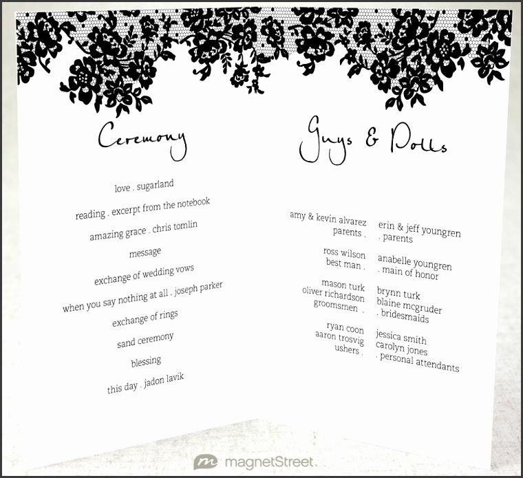 Half fold Wedding Program