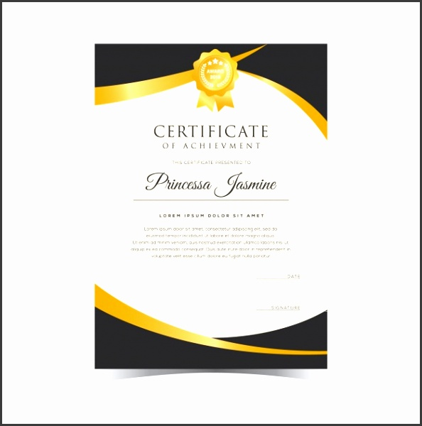 Golden certificate template Free Vector