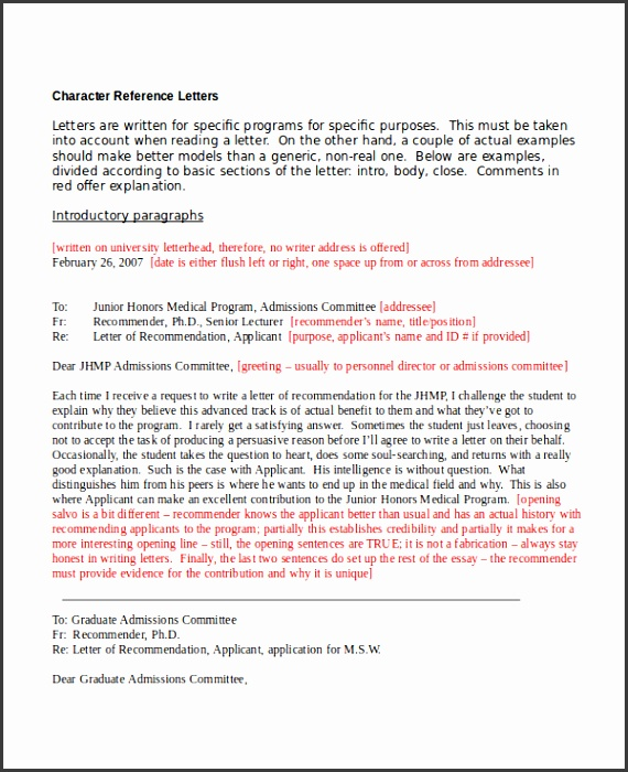 Character Reference Letter For Employment