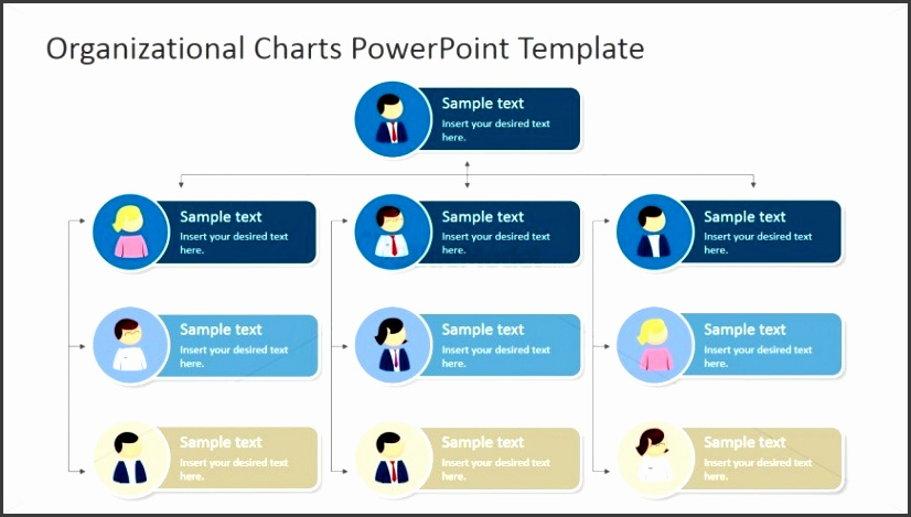 Four Levels Tree Organizational Chart for PowerPoint