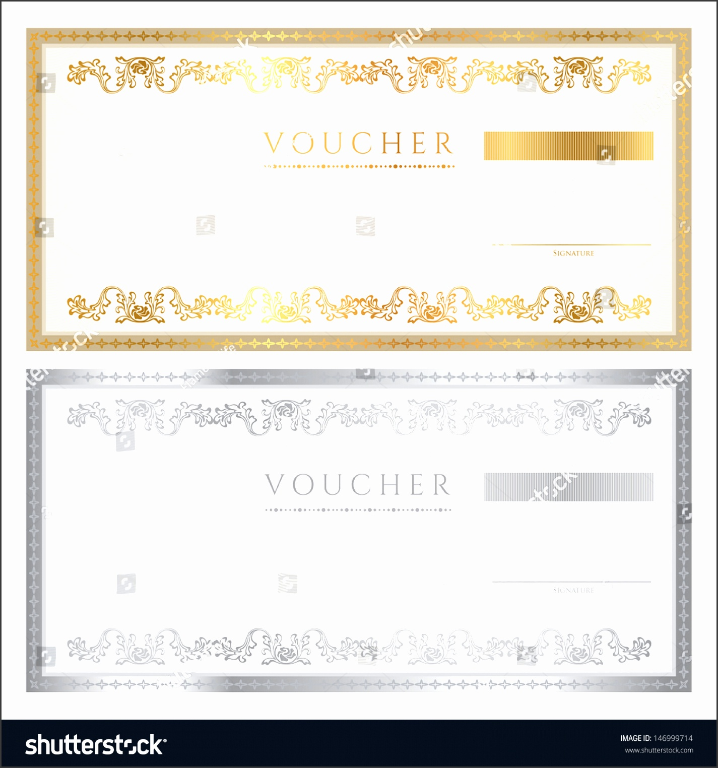 Voucher template with guilloche pattern watermark and border Background design for t voucher
