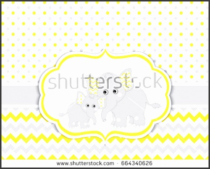 Vector card template with cute elephants on polka dot and chevron background Card template for