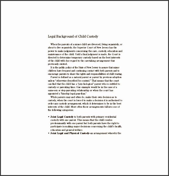 Custody Agreement Template 10 Free Word PDF Document