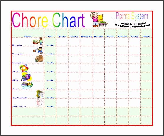 Sample Chore Chart to Reduce Moms Work