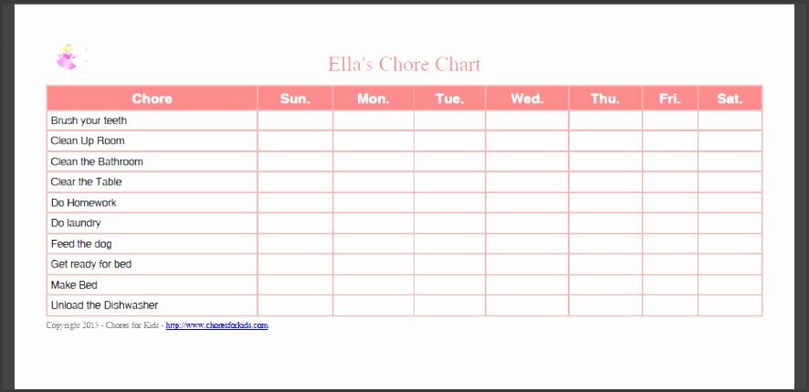 chore chart templates free