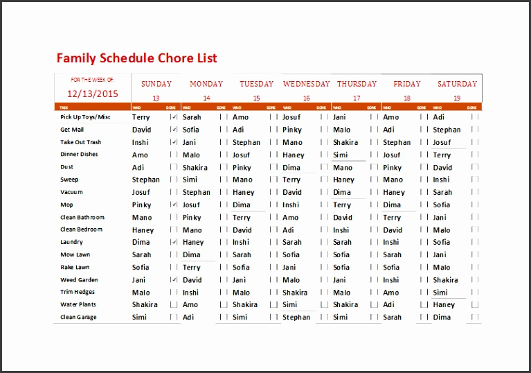 family schedule chore list