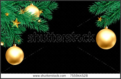 Christmas holiday greeting card background template of golden ball decorations on Christmas tree branches Vector