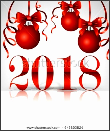 The inscription 2018 New Year s greeting card design template Christmas balls with satin bows