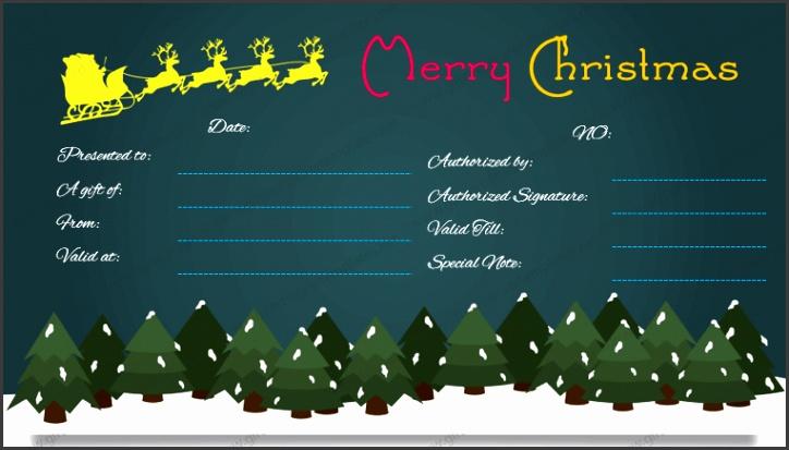 Christmas Gift Certificate Format Dark Night Design