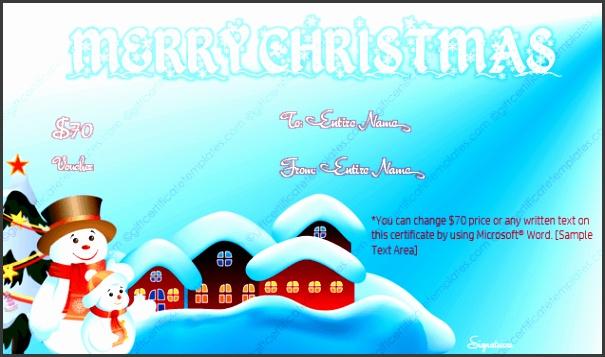 Snow season christmas t voucher template editable