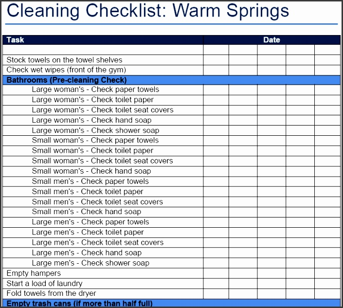 Home · Personal Template · fice Cleaning Schedule And Checklist Template Excel