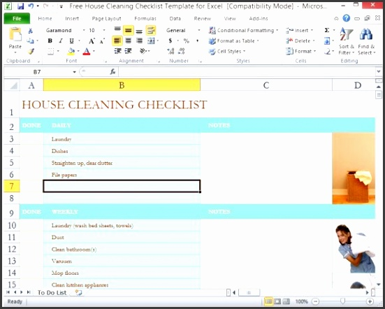 free house cleaning checklist template for excel 1 580x461