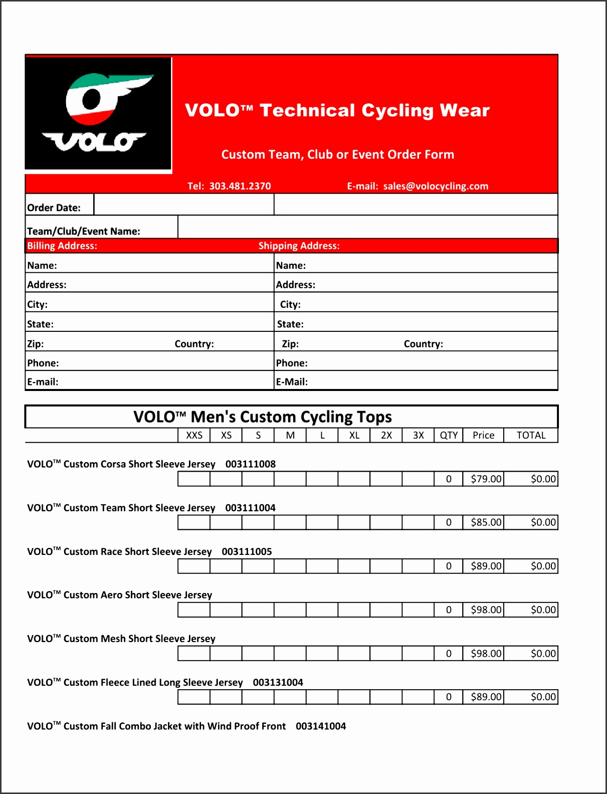 Custom Clothing Order Form Volo Cycling Forms Template Image Custom Order Forms Form Full