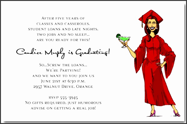 Phd Graduation Party Invitation Wording Girl Margarita Graduation Party Invitations Humorous College Templates