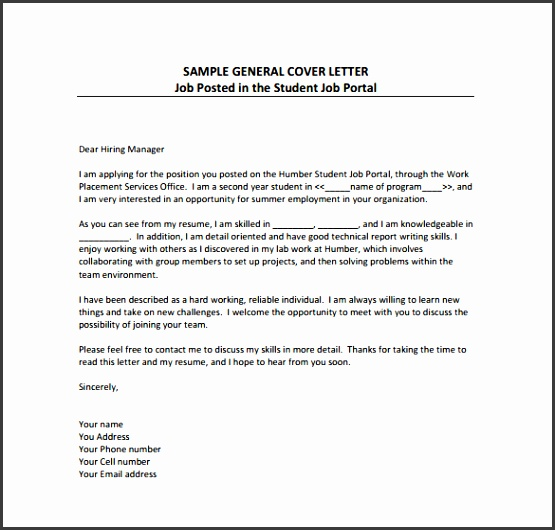 General Cover Letter Sample PDF Template Free Download