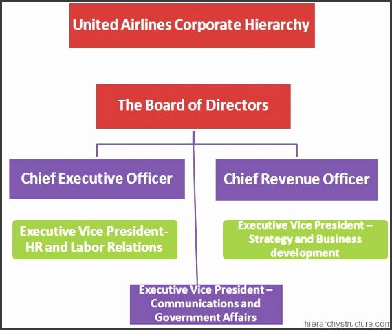 United Airlines Corporate Hierarchy Corporate Hierarchy organizational chart template