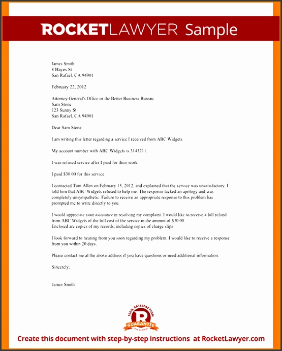 plaints Letter Template Sample plaint Letter To A BBB Attorney General Form Template