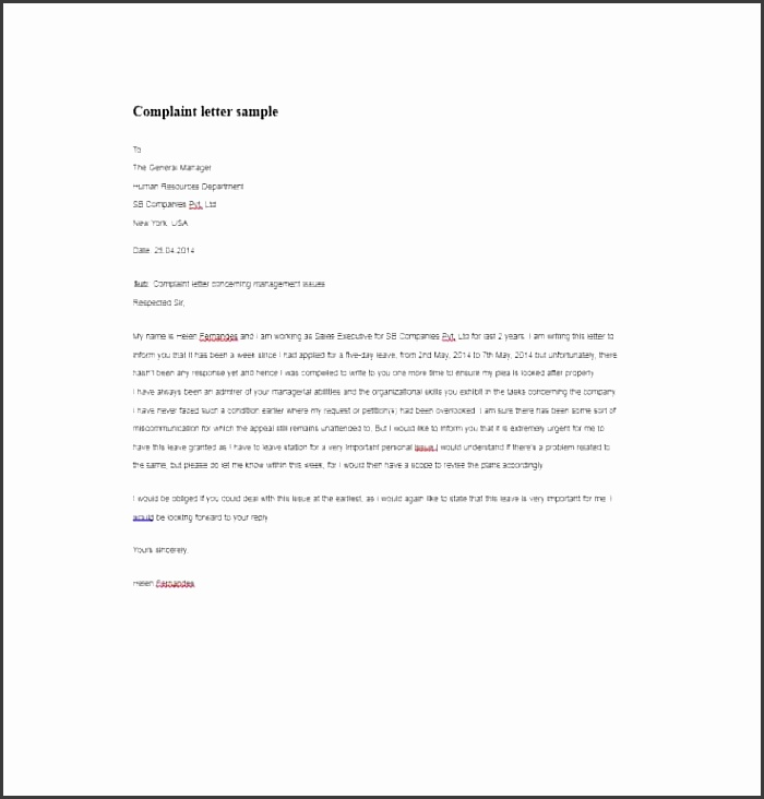 Employee plaint Form Template 02