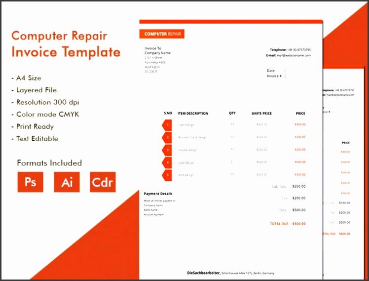 Modern puter Repair Invoice Template puter Repair Invoice