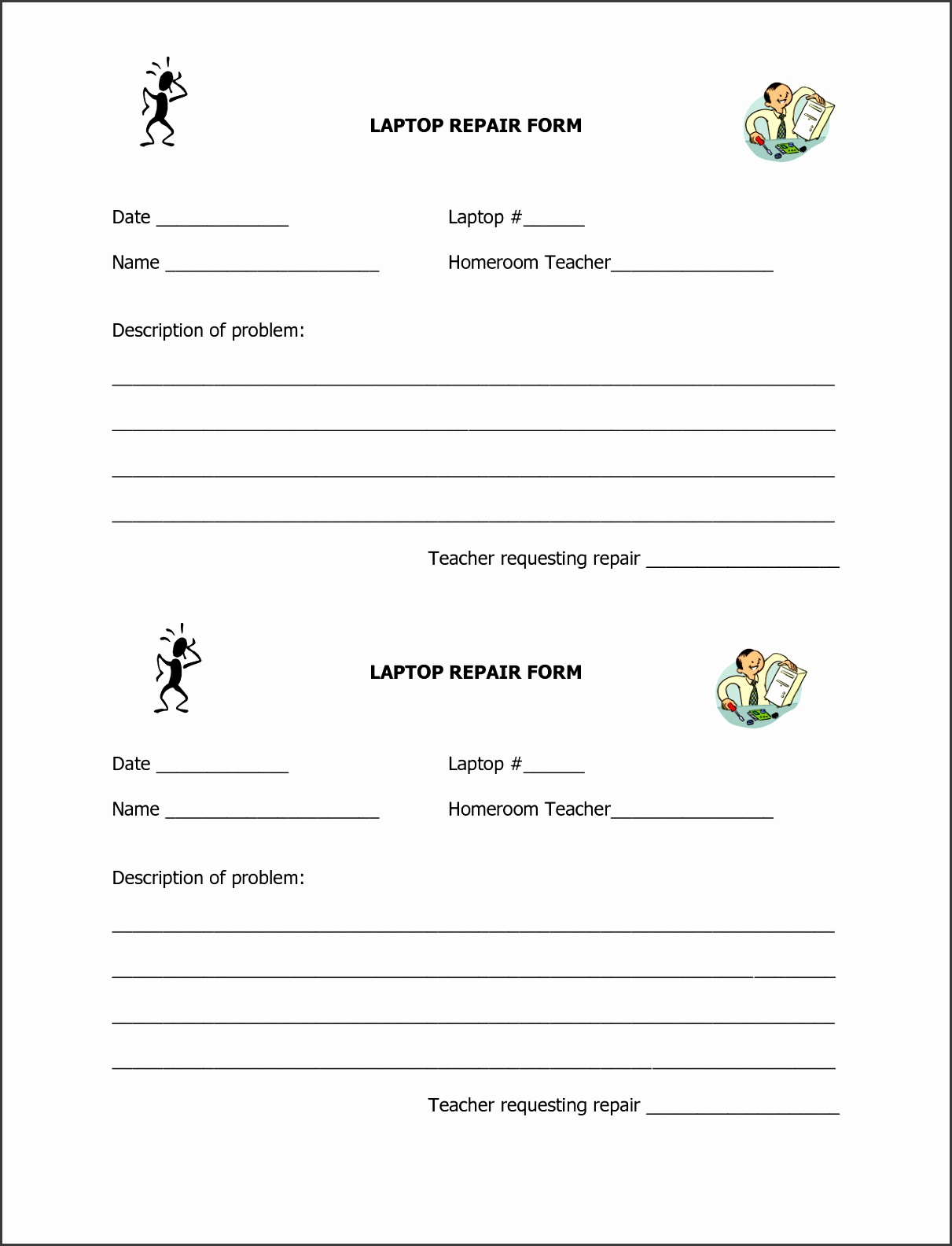Machine repair form template pronofoot35fo Choice Image
