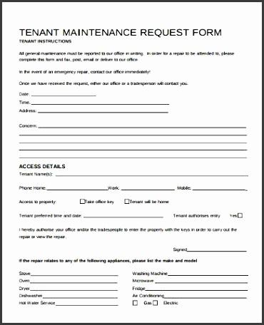 Repair Form Template
