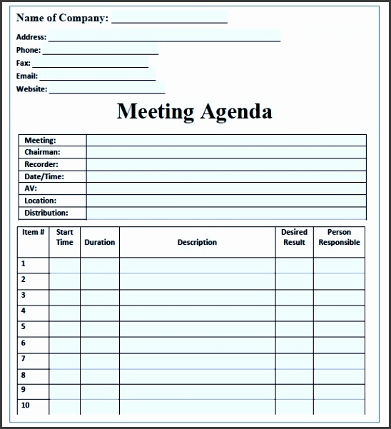Sample Meeting Agenda Template with Blue Color an image part of Business Agenda Template