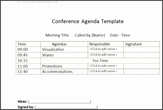 Meeting agenda template Conference