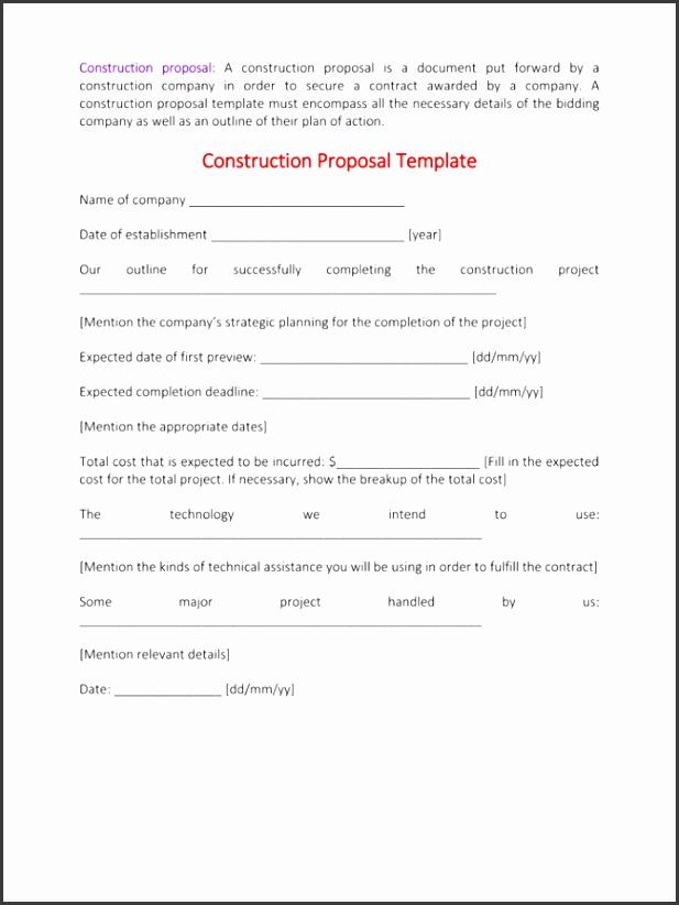 construction proposal construction proposal template