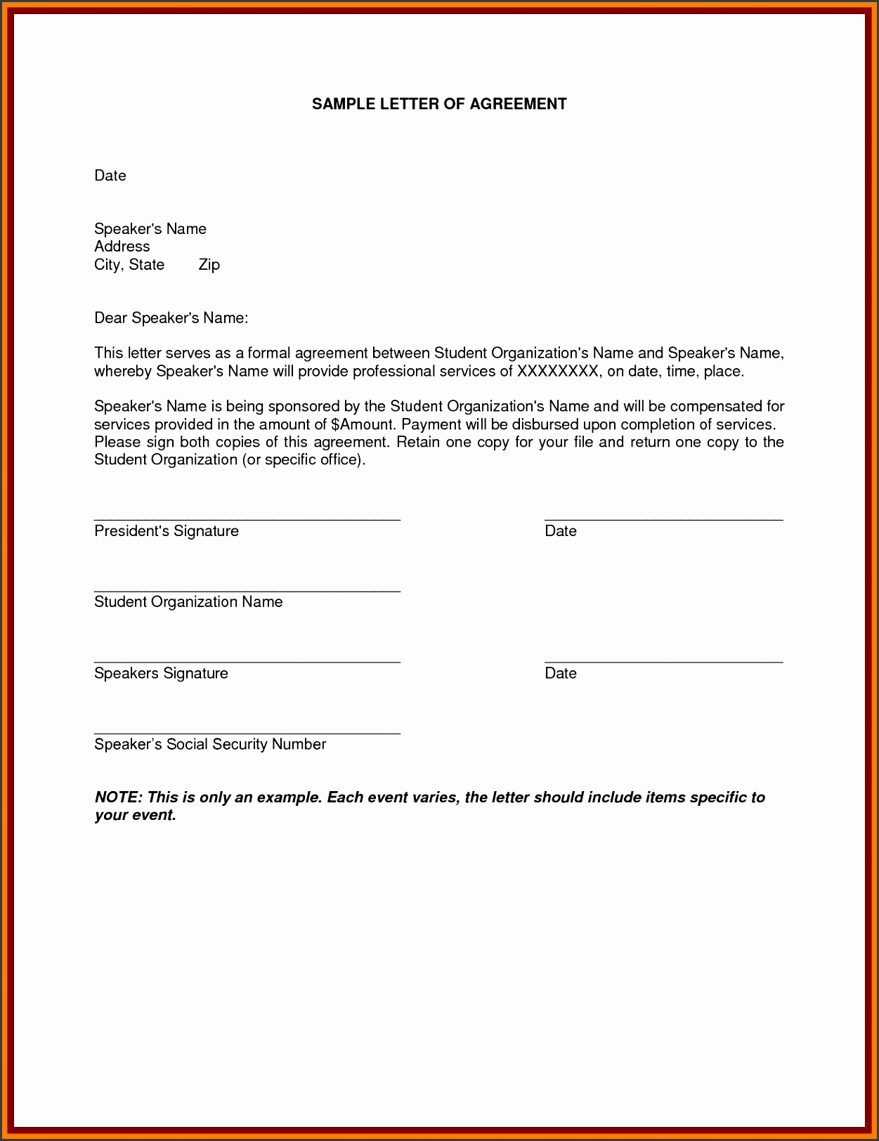 5 Loan Agreement Letter Sample