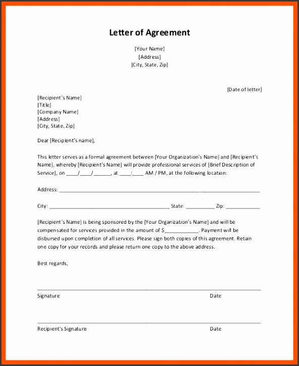 agreement letter agreement contract letter template 10 11 agreement letter