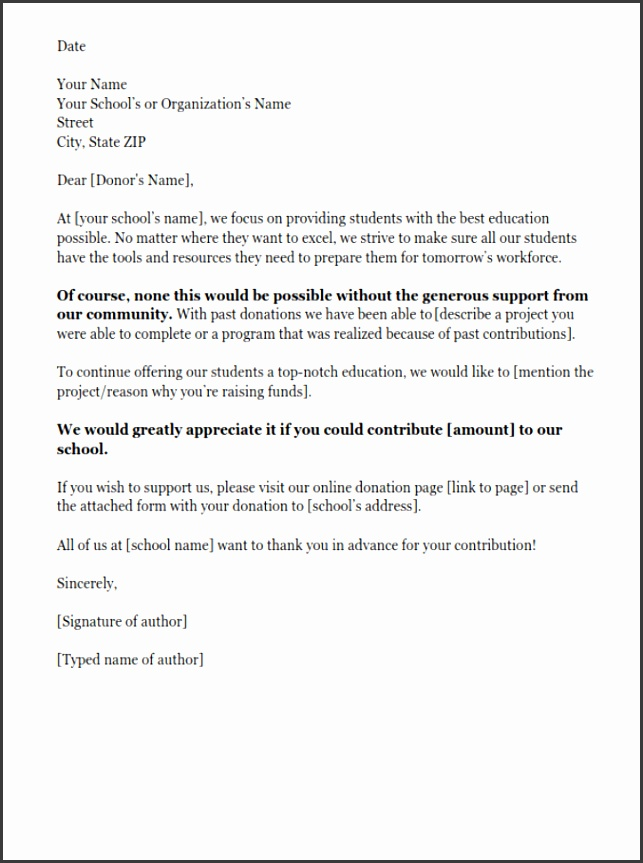 Donation request letter for schools