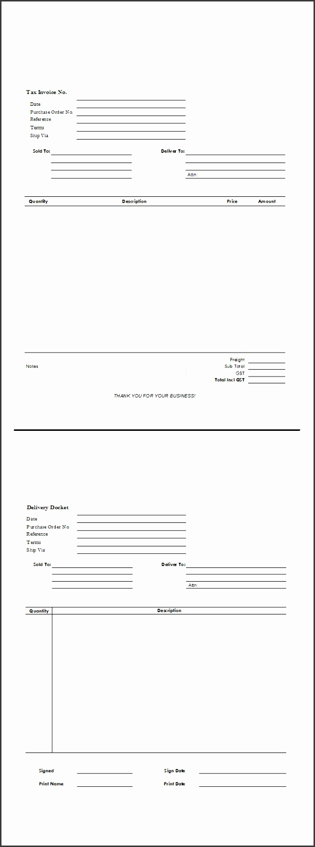 Invoice and Packing Slip on Same Form