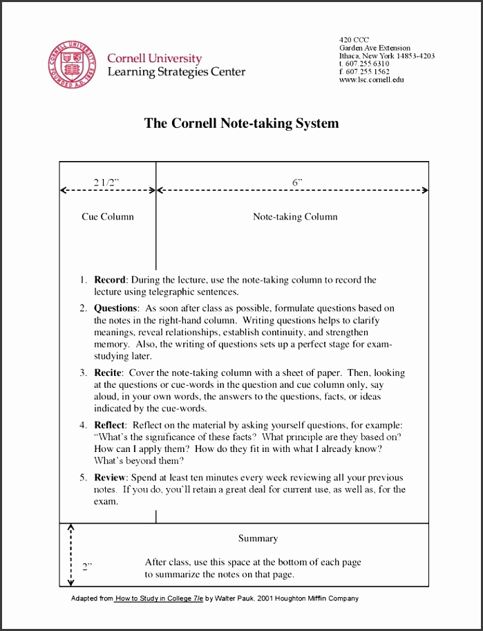 Cornell Notes Study Strategies Pinterest Cornell notes cornell note taking template