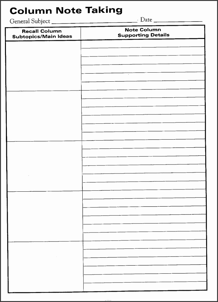 Cornell Note Word Template  Sampletemplatess  Sampletemplatess